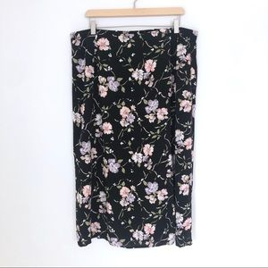 Vintage 90s Floral Midi Rayon Skirt Size 2X